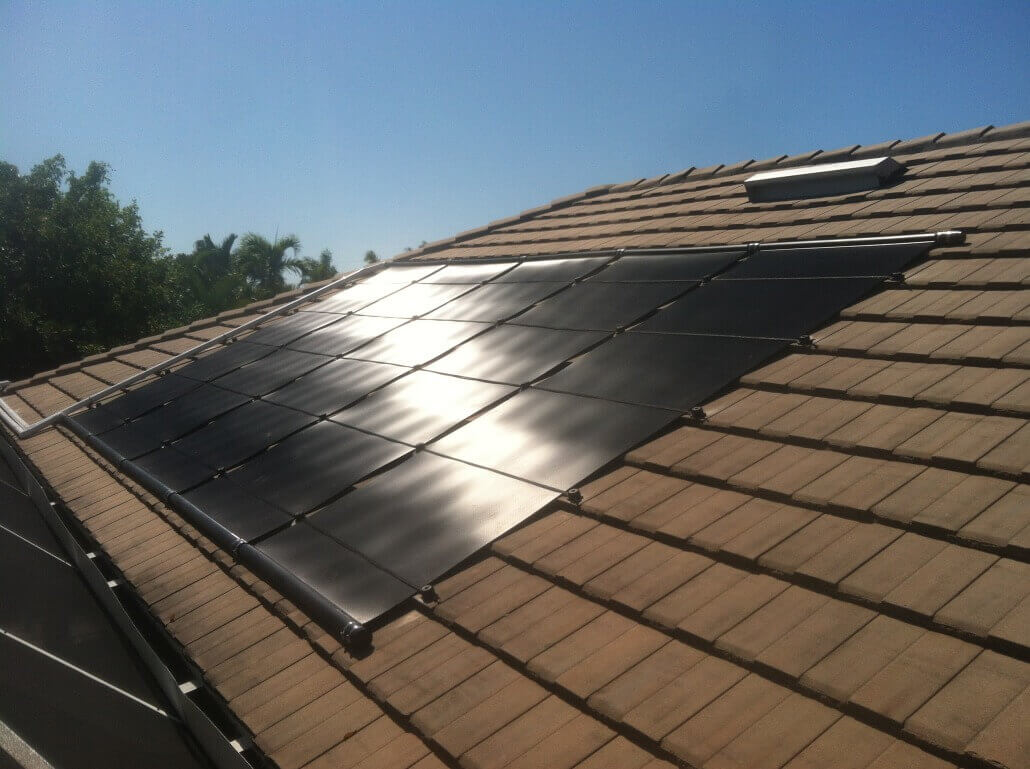 Solar Pool Heater On Flat Tile Roof In Cape Coral Fl