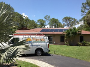 Florida Solar Design Group Truck at Naples Solar Pool Heating Panel Installation